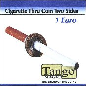 Cigarette Thru Coin Two Sides 1 Euro by Tango